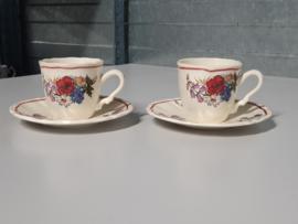 Frans Sarreguemines Agreste set 2x Espresso Kop en schotel