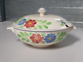 Boerenbont Societe Ceramique blauw-rode bloem Soepterrine