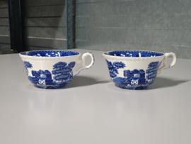 Engels Copeland blauw Spode's set van 2x robuuste Kop 11 cm
