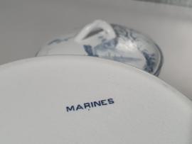 Petrus Regout Marines donker blauw Dekschaal Terrine (hoekig model)
