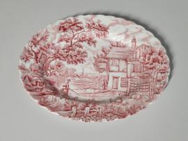 Engels rood The Hunter by Myott ovale grote Serveerschaal 31 cm