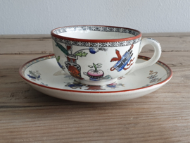 Potiche gekleurd Societe Ceramique Kop en schotel 9 cm