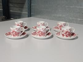 Engels rood Ridgway Windsor set van 6x Espresso kop en schotel