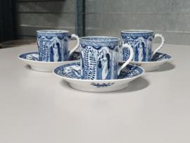 Mosa Maastricht Lange Lijs set 3x Kopje met schotel