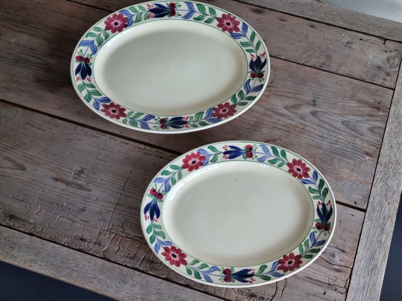 Engels Boerenbont Adderleys set 2x robuuste ovale Serveerschaal 47 en 40,5 cm