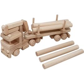 Vrachtwagen met kraan en boomstammen beukenhout