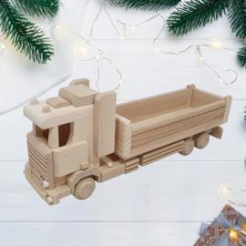 Houten vrachtwagen met oplegger groot