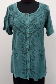 India blouse met knoopjes - lang - turkoois shadow
