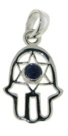 Lapis lazuli Hamsa hand hanger / Zilver