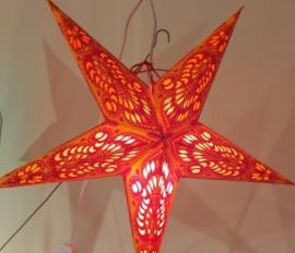 Papieren Oranje-Rood Kerst Ster - doorsnede ~ 40 cm