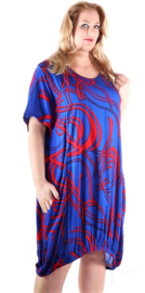 Bali tuniek Ideal - Royal blue/red