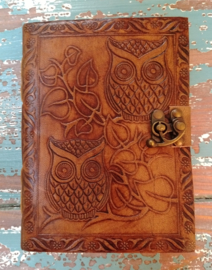 Leatherlook dagboek Uil