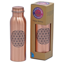 Koperen drinkfles India - Bloem des Levens  (donker)