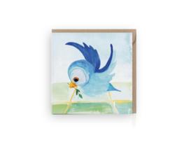 Vogel met twijg wenskaart - Grafiquelien