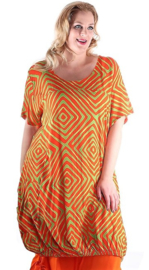 Bali tuniek Ideal - Orange/lime squares