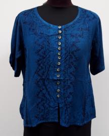 India blouse met knoopjes - kort - blauw