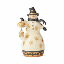 Black and Gold Snowman with Ornament - Jim Shore 6004199