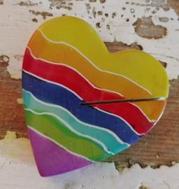 Speksteen regenboog hart memo/kaarthouder