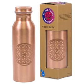 Koperen drinkfles India - Levensbloem (licht)