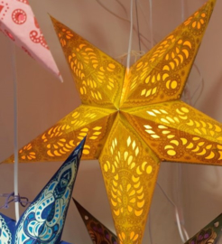 Papieren Gele Kerst Ster - doorsnede ~ 60 cm