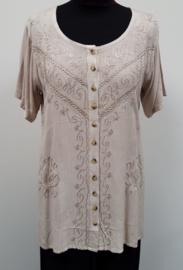 India blouse met knoopjes - lang - creme