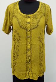 India blouse met knoopjes - lang - geel