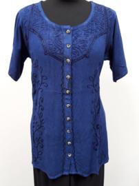 India blouse met knoopjes - lang - turkoois blauw