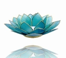 Lotus Sfeerlicht - 5e Chakra - Blauw met Gouden Rand