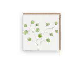 Groene eucalyptus wenskaart - Grafiquelien