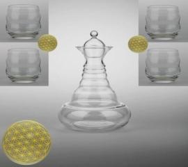 Vitaalwaterkaraf set 1,3 liter & 4 Mythos glazen met Bloemen des Levens Goud
