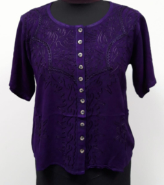 India blouse met knoopjes - kort - paars