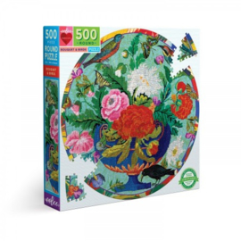 Bouquet and Birds (500) - ronde puzzel