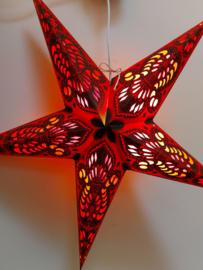 Papieren Rood-Zwart Kerst Ster  ~ doorsnede ~ 60 cm