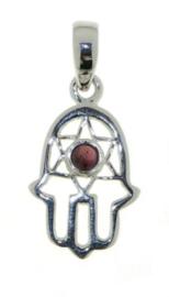Granaat Hamsa hand hanger / Zilver