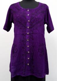 India blouse met knoopjes - lang - paars