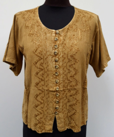 India blouse met knoopjes - kort - beige