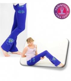 Yoga handgeschilderde lotus broek katoen blauw/paars - maat S