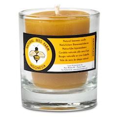 Bijenwas kaars in glas - brandtijd ~15 uur
