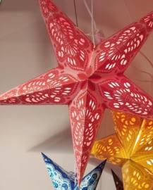 Papieren Lichtroze-Rood-Wit Kerst Ster - doorsnede ~ 60 cm