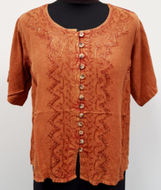 India blouse met knoopjes - kort - terra cotta