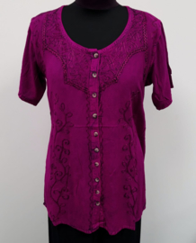 India blouse met knoopjes - lang - fuchsia