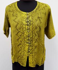 India blouse met knoopjes - kort - geel