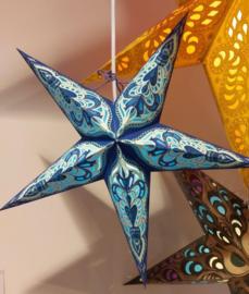 Papieren Blauwe-Turquoise Kerst Ster - doorsnede ~ 40 cm