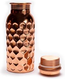 Koperen drinkfles India - gehamerd / 500 ml