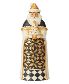 Black and Gold Santa with Tree - Jim Shore 6004198