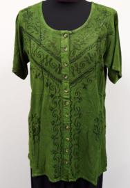India blouse met knoopjes - lang - groen