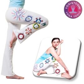 Yoga handgeschilderde chakra broek katoen wit - maat S