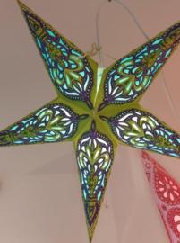 Papieren Lichtgroen-Paarse Kerst Ster - doorsnede ~ 40 cm