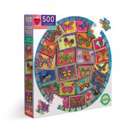 Vintage Butterflies - 500 - ronde puzzel