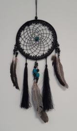 Dromenvanger Zwart met kant / grote veren (nr 8)